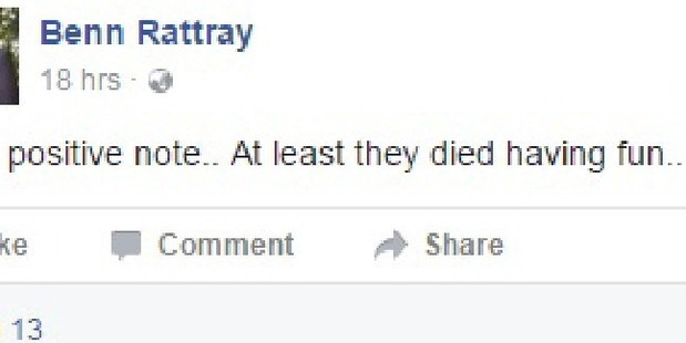One of Benn Rattray's comments on Facebook.