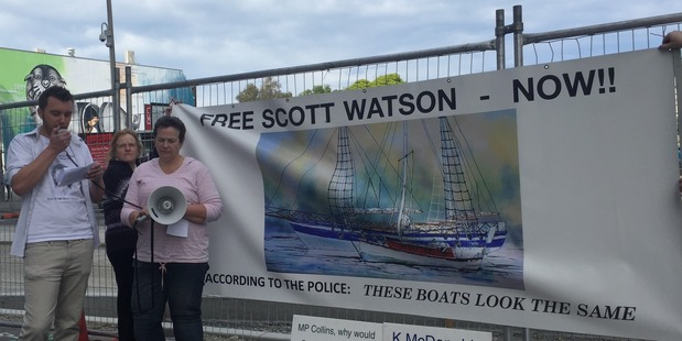 Loading Free Scott Watson supporter Jono Townsend (left) speaks at start of protest march in Christchurch this morning.