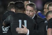 All Blacks winger Julian Savea with coach Steve Hansen after beating Australia on Saturday. Photo / Brett Phibbs