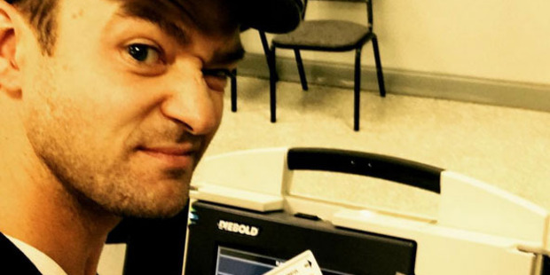 Justin Timberlake shouldn't have taken this selfie at a polling booth, officials say. Photo/Instagram