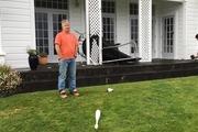 Shane Aberdein's trampoline blew onto his veranda.