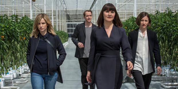 Faye Marsay, left, Jonas Karlsson, Esther Hall and Kelly Macdonald from Black Mirror. Photo / Netflix