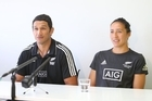 The naming of the new Head Coach of the Black Ferns Sevens Team. New coach Allan Bunting and captain Sarah Goss. 03 Nov 2016 Bay of Plenty Times Photograph by John Borren
