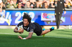 Kevin Proctor dives over the line to score during the Kiwis' loss against the Kangaroos. Photo / photosport.nz