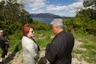 Conservation Minister Maggy Barry visits the proposed site of a new marae at Lake Tarawera.