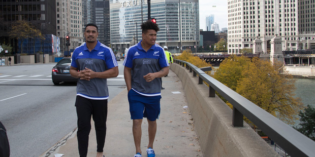 All Blacks loose forwards Jerome Kaino and Ardie Savea outside their team hotel in Chicago. The All Blacks play Ireland at Soldier Field, Chicago. Photo / New Zealand Herald by Brett Phibbs