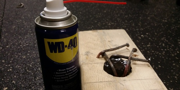He used the WD-40 cutting oil to be able to drill the hole in the rock. Photo / Chadmanx Imgur