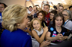 Democratic presidential candidate Hillary Clinton greets members of the audience after speaking at a rally in Las Vegas. Photo / AP