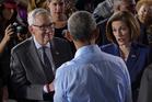 President Barack Obama with Senate Minority Leader Harry Reid, left, and Senate candidate Catherine Cortez Masto. Photo / AP