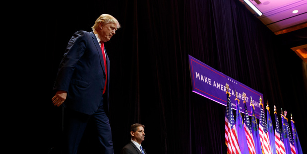 Republican presidential candidate Donald Trump arrives to speak to a campaign rally in Las Vegas. Photo / AP