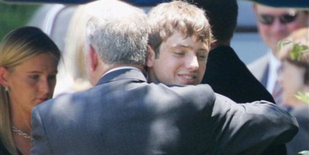 John and Burke Ramsey at the funeral of Patsy Ramsey, who died in 2006 of cancer. Photo / AP