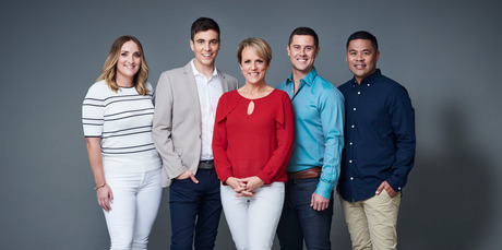 Hilary Barry presents Breakfast alongside Brodie Kane, Jack Tame, Sam Wallace and Daniel Faitaua.