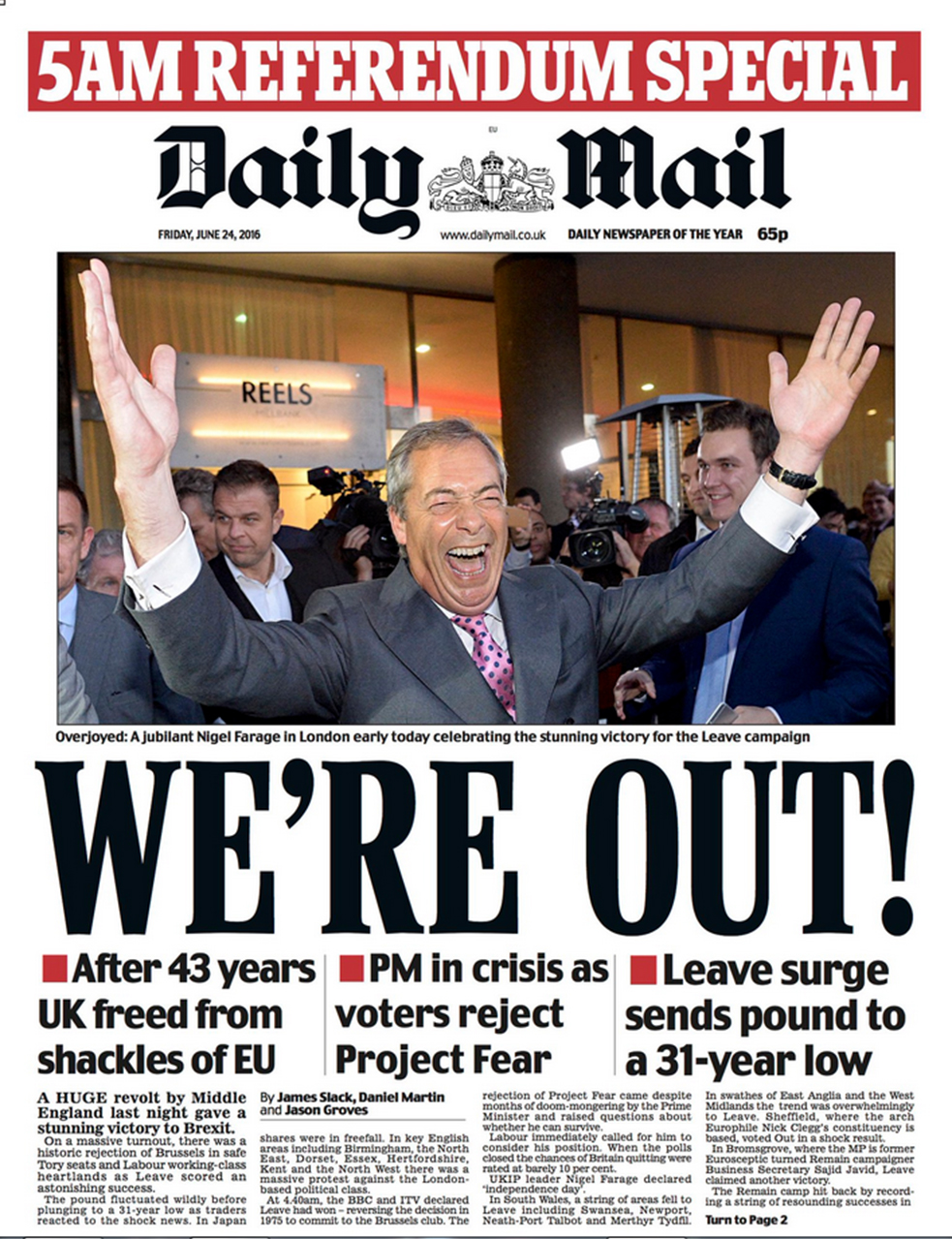The referendum to leave the EU was won by a small margin.