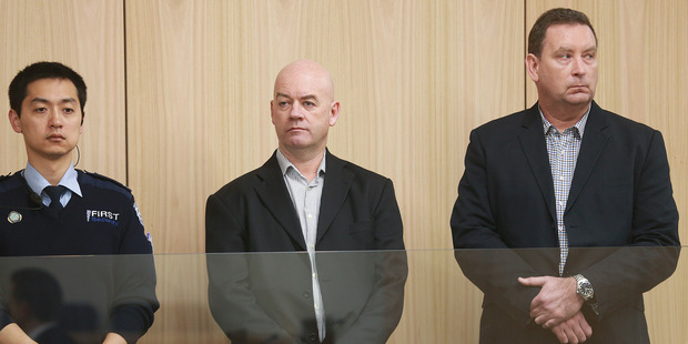 Auckland Transport corruption case. Pictured are defendants Stephen Borlase and Murray Noone at Auckland High Court. Photo / Doug Sherring