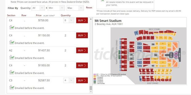Tickets on the Ticketmaster Resale site are four times the original sale price.