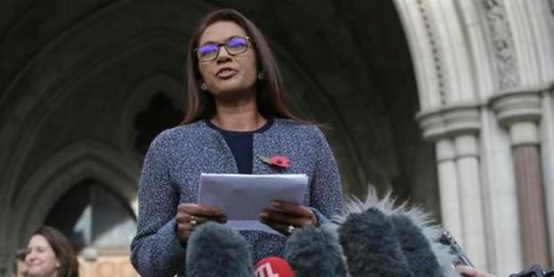 Financial entrepreneur Gina Miller, one of the claimants who challenged plans for Brexit, speaks to the media outside the High Court in London. Photo / AP