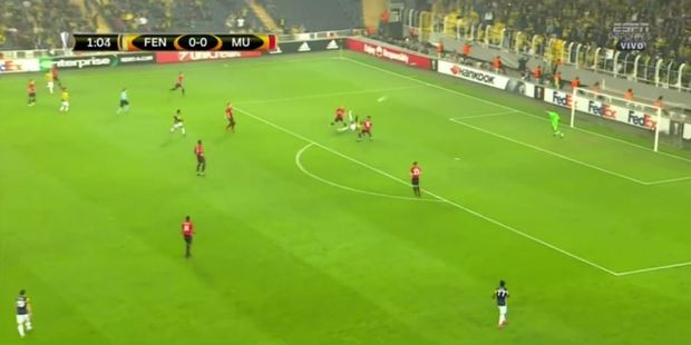 It took just two minutes for Moussa Sow to score one of the goals of the season against Manchester United this morning. Photo / ESPN