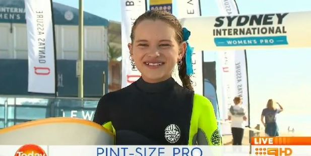 Meet Sabre Norris, the 11-year-old surfer who has won over the world with her hilarious character and unbelievable talent. Photo / Channel 9