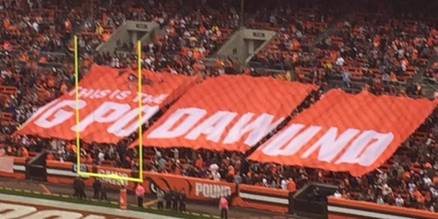 Cleveland Browns fans with their misspelled 'DAWG POUND' sign. Photo / Twitter
