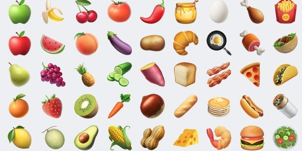There are new food emojis but the peach is looking a little different. Photo / Twitter / @carreteronacho