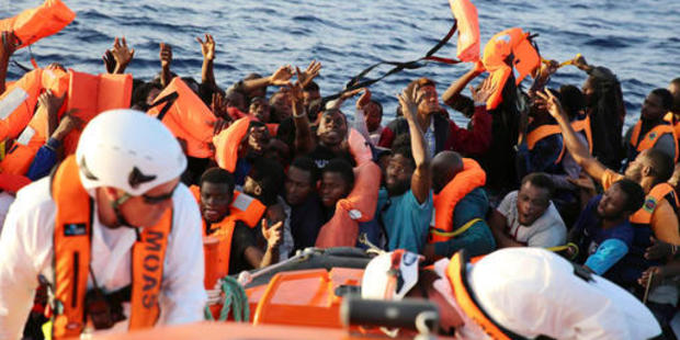 Life jackets are thrown to migrants rescued by the vessel Responder, run by the Malta-based NGO Migrant Offshore Aid Station and the Italian Red Cross. Photo / AP