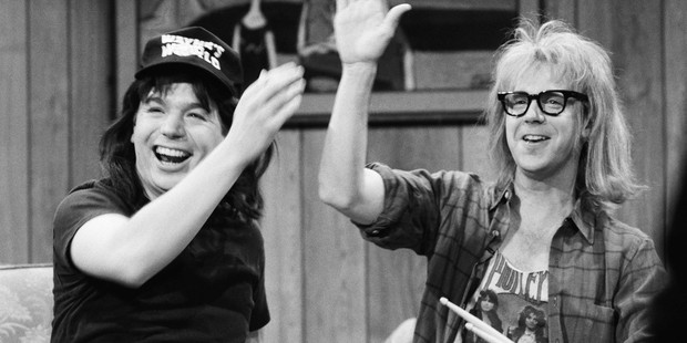 Mike Myers as Wayne Campbell, Dana Carvey as Garth Algar during the 'Wayne's World' skit on March 23, 1991. Photo / Getty