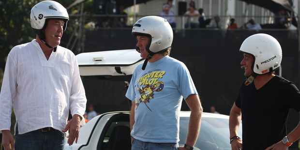 Jeremy Clarkson with James May and Richard Hammond during the BBC Top Gear Festival from Moses Mabhida Stadium on June 17, 2012 in Durban, South Africa. Photo / Getty