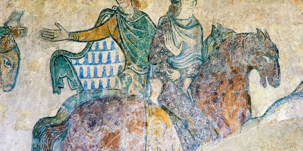 Isabella of Angouleme and Eleanor of Aquitaine, a fresco in the Chapel of St Radegund. Photo / Getty Images