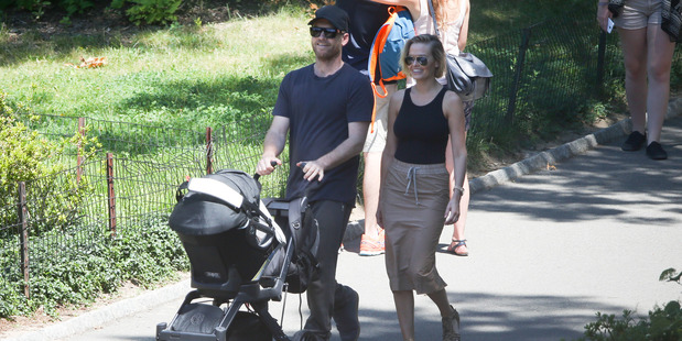 Sam Worthington and Lara Bingle are seen taking their baby boy Rocket for a walk in Central Park on August 7, 2015 in New York City. Photo / Getty
