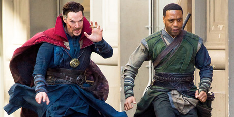 Actors Benedict Cumberbatch (L) and Chiwetel Ejiofor are seen filming Doctor Strange on April 3, 2016 in New York . Photo / Getty