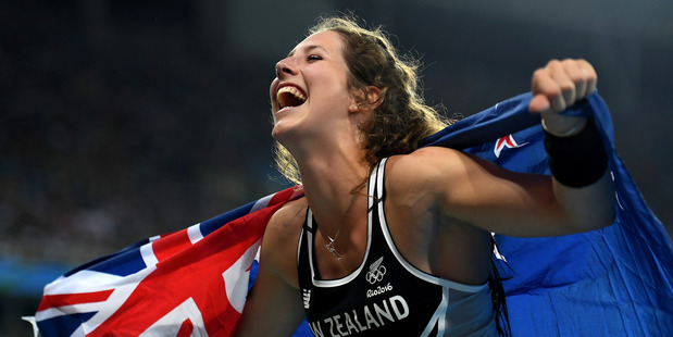 Eliza Mccartney celebrates winning bronze at the Rio Games. Photo / Getty Images