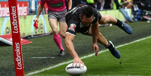 Loading Jordan Rapana New Zealand goes over for the opening try against England. Photo / Getty