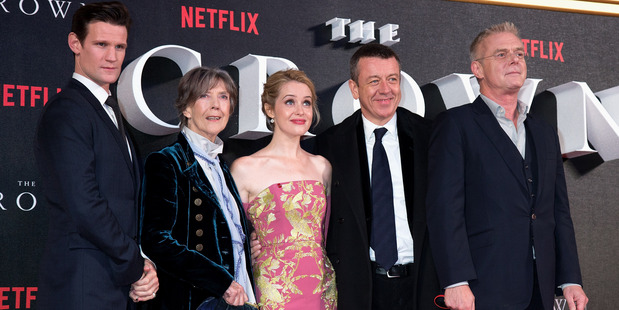 (L-R) Matt Smith, Dame Eileen Atkins, Claire Foy, Peter Morgan and Stephen Daltry attend the World Premiere of new Netflix Original series;The Crown. Photo / Getty