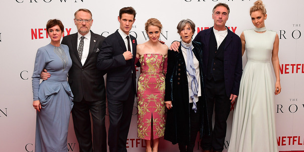 Victoria Hamilton, Jared Harris, Matt Smith, Claire Foy, Dame Eileen Atkins, Greg Wise and Vanessa Kirby attend the World Premiere of new Netflix Original series The Crown. Photo / Getty