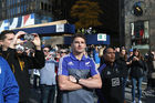 Beauden Barrett and Aaron Smith of the All Blacks blend int the Chicago Cubs victory parade. Photo / Getty