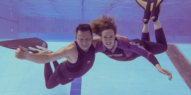 National free diving champions Guy Brew and Kathryn Nevatt. photo/ supplied