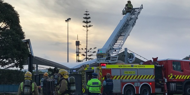 A roof at a LynnMall restaurant was alight just after 7pm and the department sent seven engines to the scene.