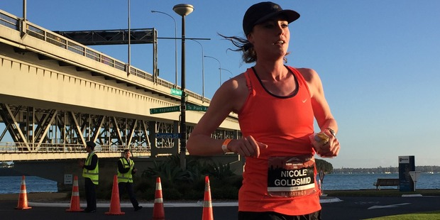 Nicole Goldsmid was leading the women after 15km in the Auckland Marathon. Photo / Greg Bowker