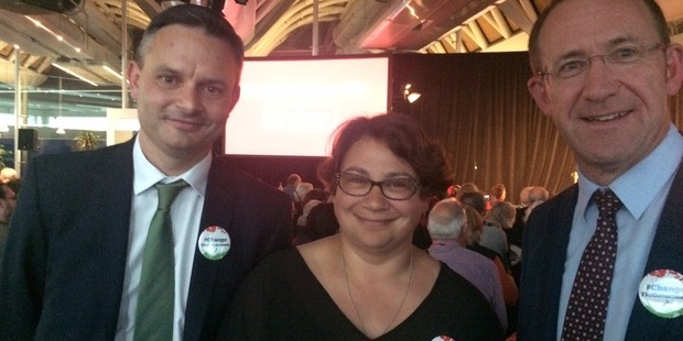 Green Party co-leaders James Shaw, Metiria Turei and Labour leader Andrew Little at Labour's conference. Photo / Claire Trevett