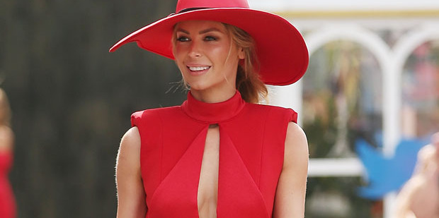 Jennifer Hawkins poses at the Myer Marquee on Melbourne Cup Day. Photo / Getty