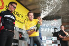 Aaron Gate celebrates winning the Tour of Southland. Photo / James Jubb - Envious Photography