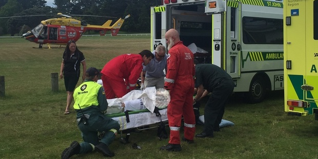 The Westpac Rescue Helicopter treated the man at the scene before flying him to hospital. Photo / Supplied via Westpac Rescue Helicopter