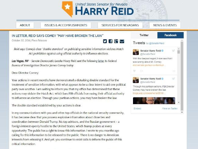 The letter that Harry Reid sent to FBI Director James Comey. Photo / Supplied