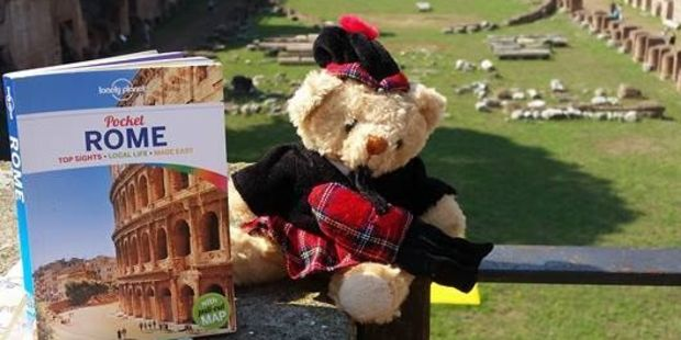 Loading Teddy pictured at ruins in Rome - oblivious to the persecution ahead at the hands of a Vatican guard. PHOTO/SUPPLIED