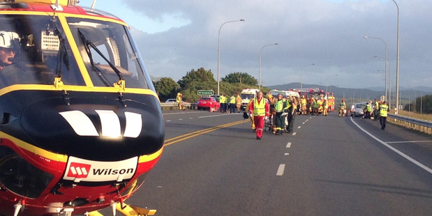 Fifteen people have died on New Zealand roads in the last seven days, including two in a crash on State Highway 2 at Mangatawhiri. Photo / Auckland Westpac Rescue Helicopter