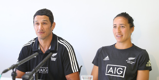 New  Black Ferns Sevens coach Allan Bunting with captain Sarah Goss at the announcement at Mount Maunganui yesterday. Photo: John Borren