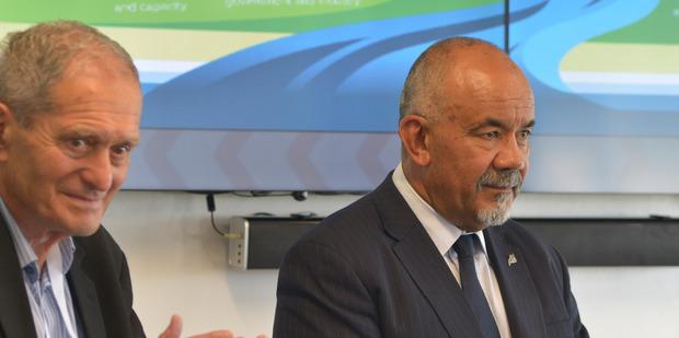 Sir Mason Durie and MP Te Ururoa Flavell launch Te Pae Tawhiti, a plan for Maori economic development in the Horizons Region. PHOTO/ NGATI RANGI TRUST