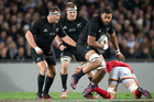 All Blacks lock Patrick Tuipulotu in action against Wales. Photo / Raghavan Venugopal