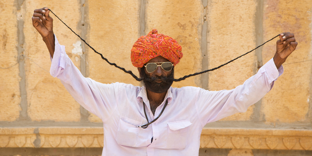The longest moustache, in Jaisalmer, Rajasthan. Photo / Getty Images