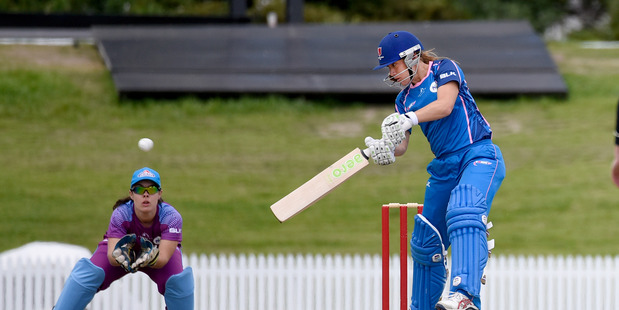NEW BEGINNINGS: Sam Curtis batting for Sonic against Galaxy in the opening match of the new women's cricket NPL played at Bay Oval. PHOTO/GEORGE NOVAK